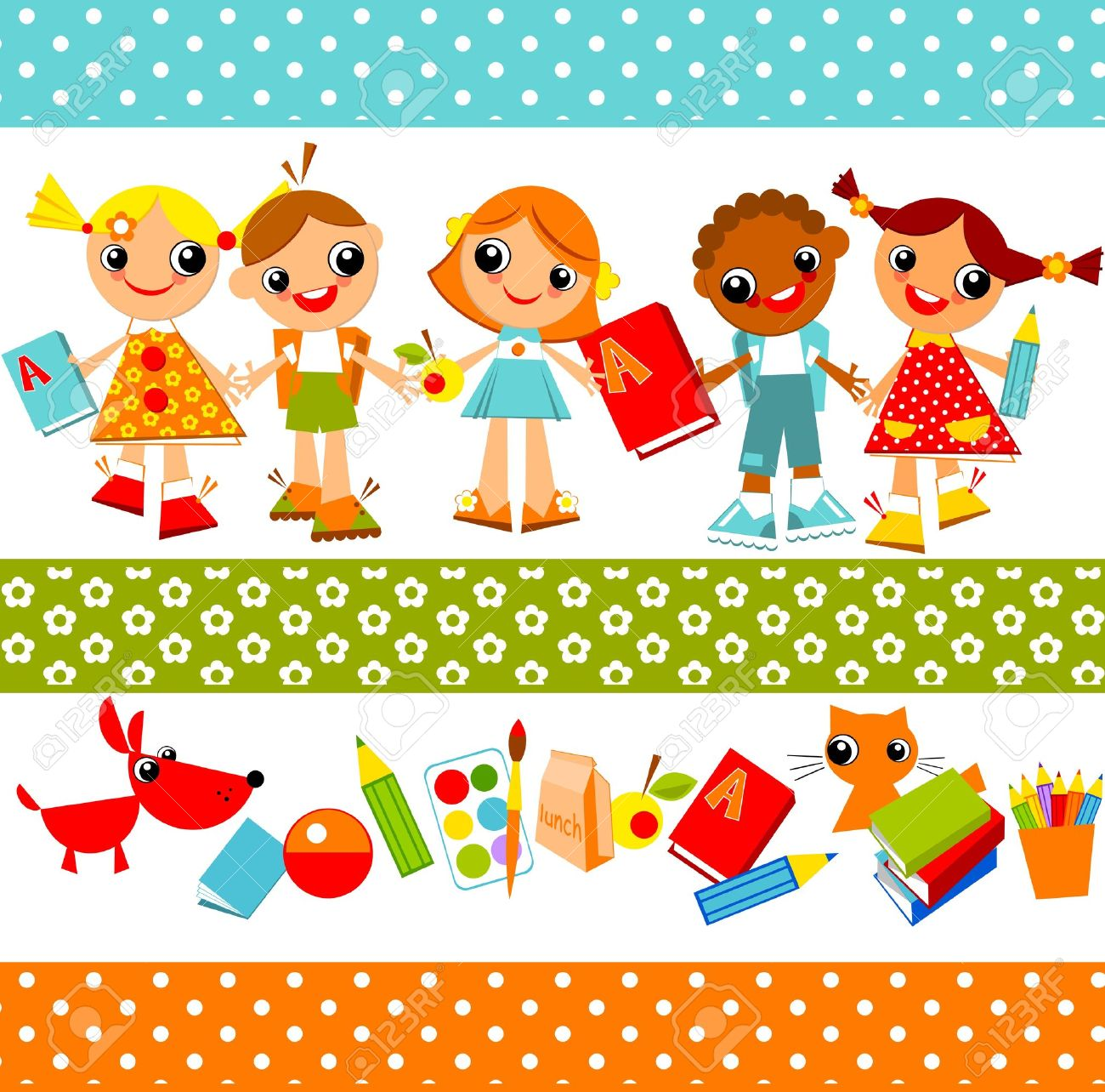 Set Of Bright Colored Children, Boys And Girls Holding Hands.