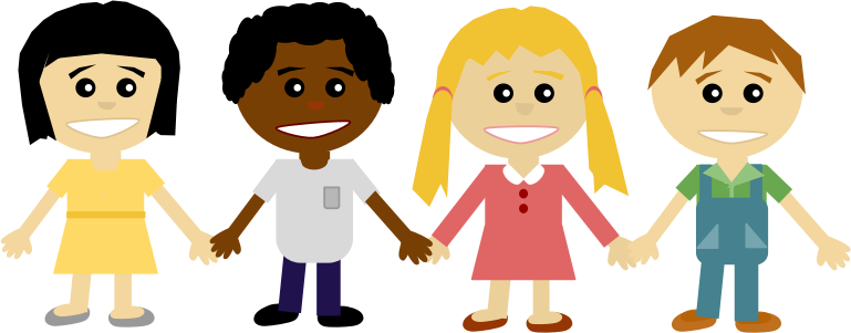 children holding hands color clipart #15