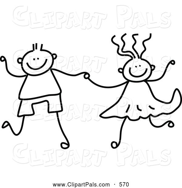 children holding hands color clipart #12