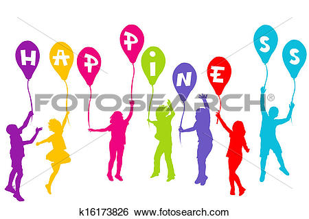 Clip Art of Colored children silhouettes holding balloons with.