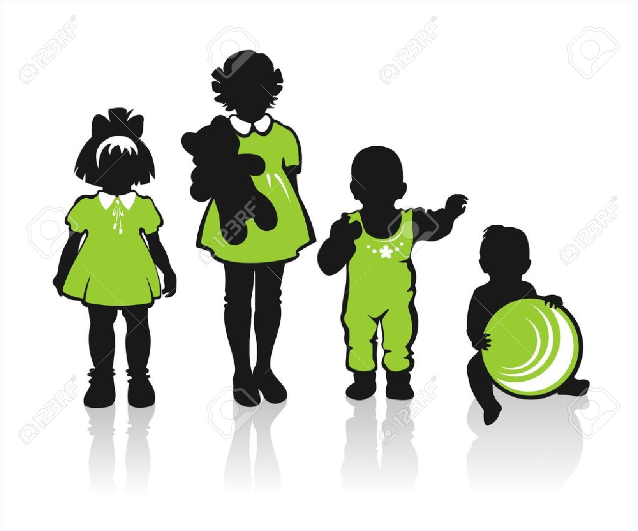 Black Children's Silhouettes On A White Background. Royalty Free.