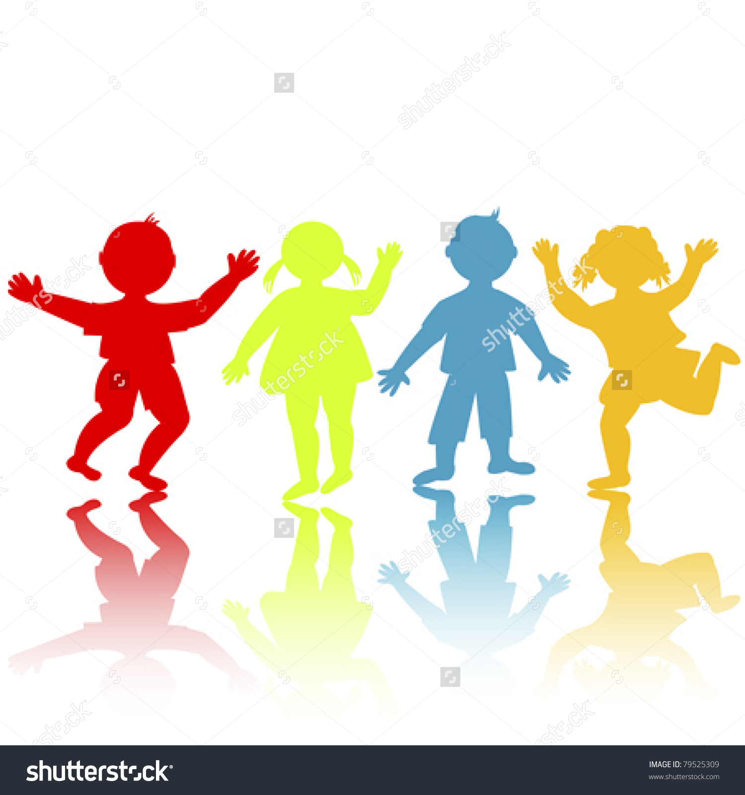 Colored Children Silhouettes Playing Stock Vector 79525309.