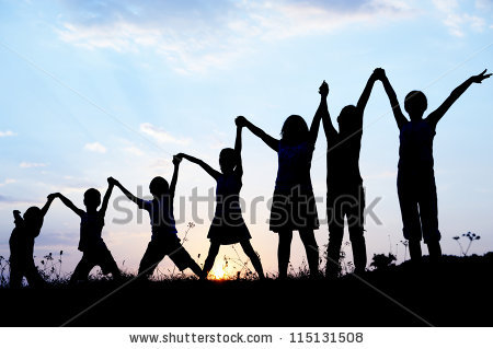 Children Silhouette Stock Images, Royalty.
