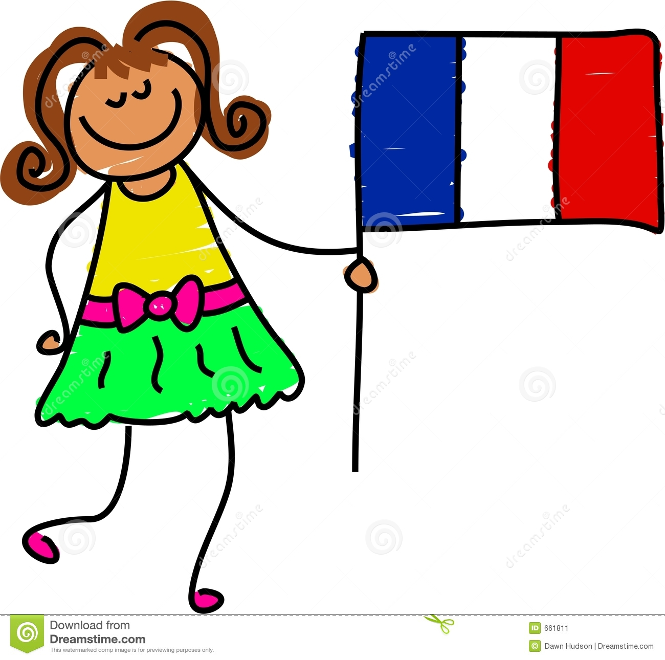 Children Holding Flag Clipart.