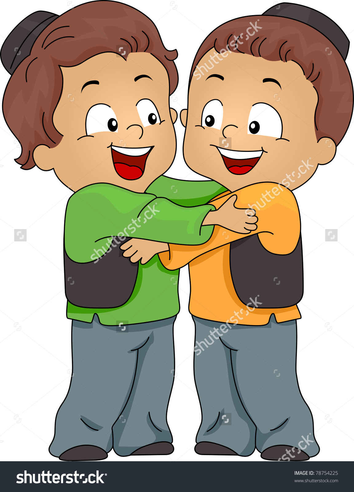 children hugging clipart #4