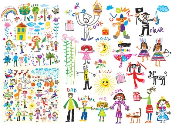 Cheerful children clip art illustrations Free vector in.