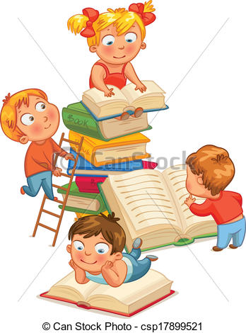 Vector Illustration of Children reading books in the library.