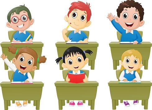 lesson activities school children in classroom Clipart Image.
