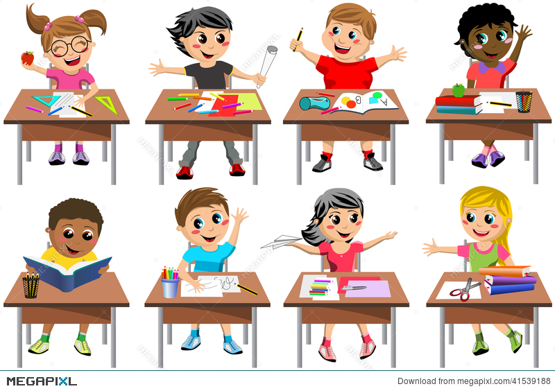 Happy Students In Classroom Clipart.
