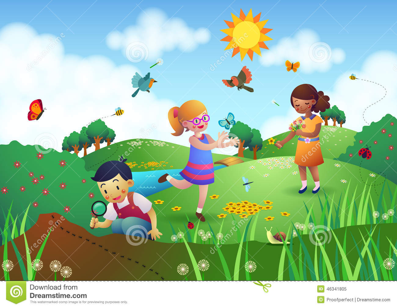 Children Playing In The Garden Clipart.