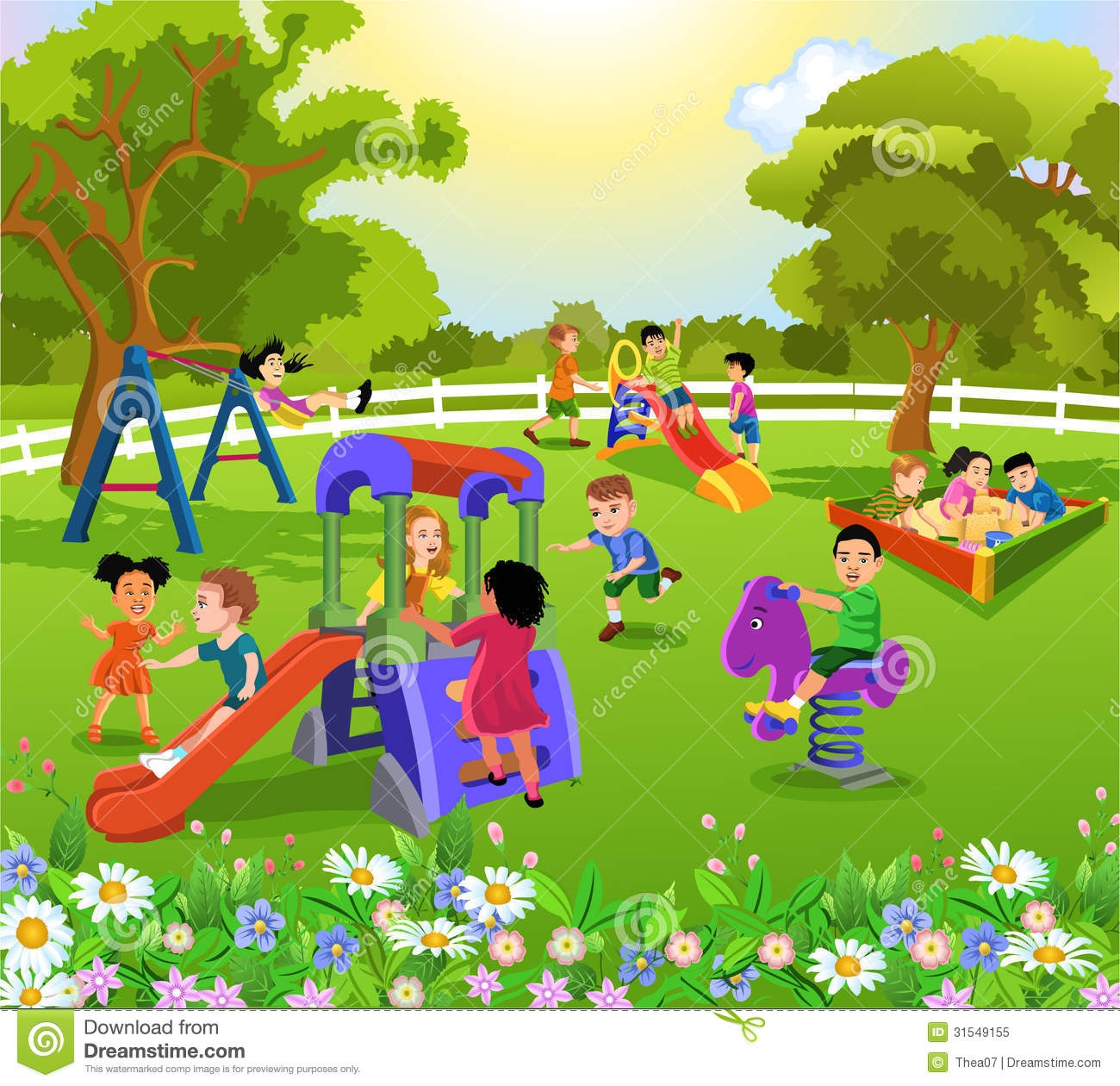 Playing Kids In Garden Clipart.