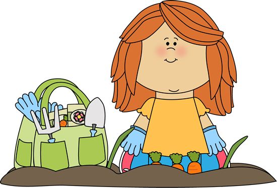 Cute children in garden clipart.