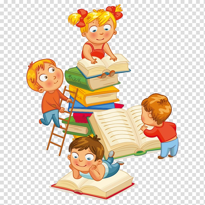 Four children reading books , Library Child Nati per Leggere.