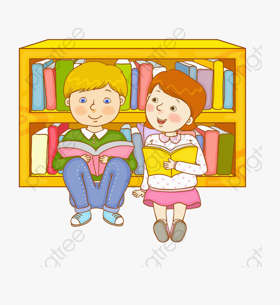 Children Reading In The Library, Children Clipart,.