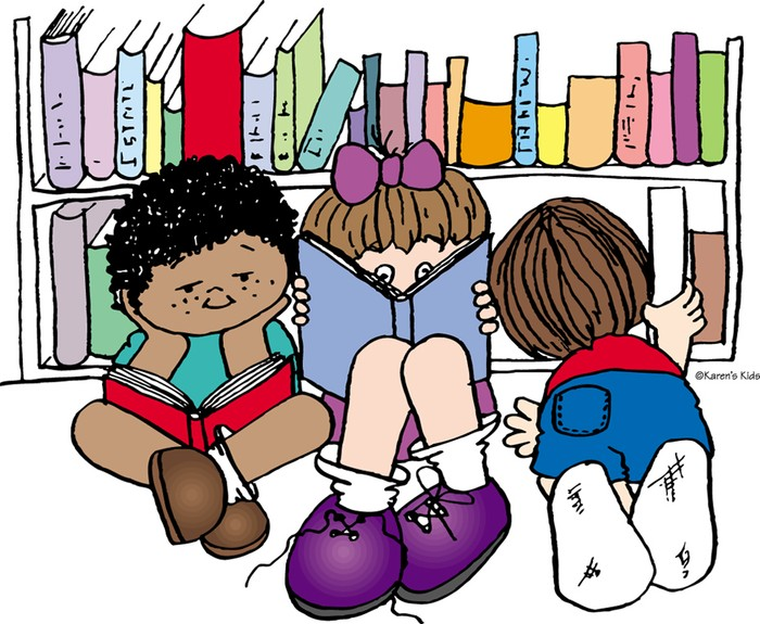 Reading In Library Clipart.