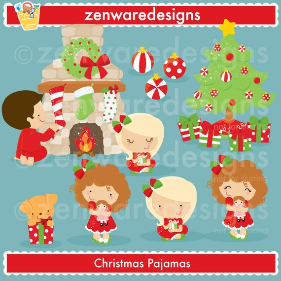 Children in Christmas Pajamas Clipart.