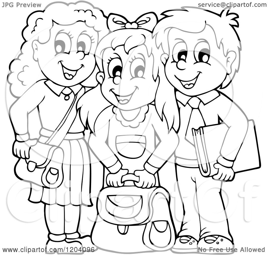 Cartoon of Black and White Happy School Children with Their Bags.