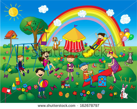 Children Playing At The Park Clipart.