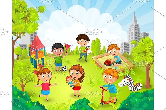 Children At The Park Clipart.