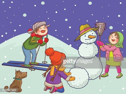 Children playing with Snow. Merry Christmas. Winter.