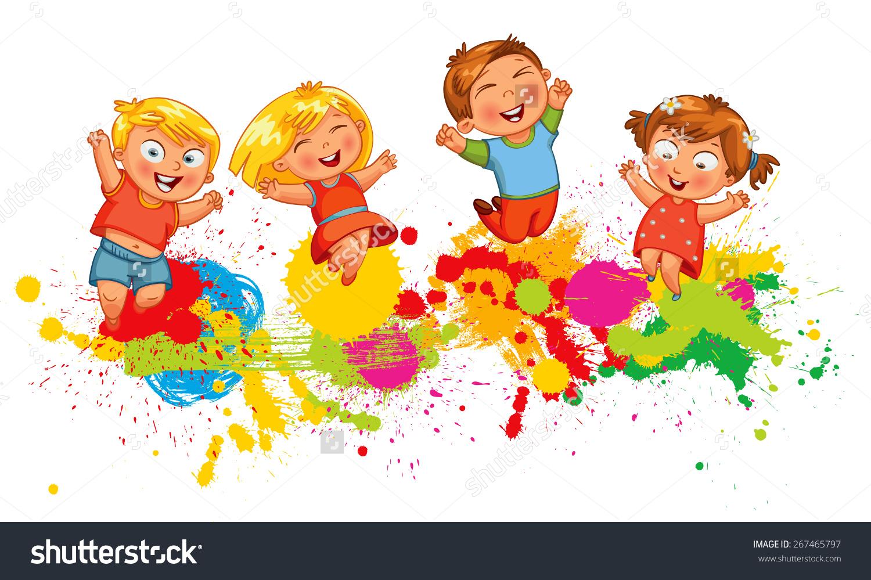 Children Jump Joy Banner Funny Cartoon Stock Vector 267465797.