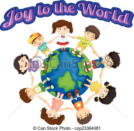 Vector of Joy to the world with children csp23364081.