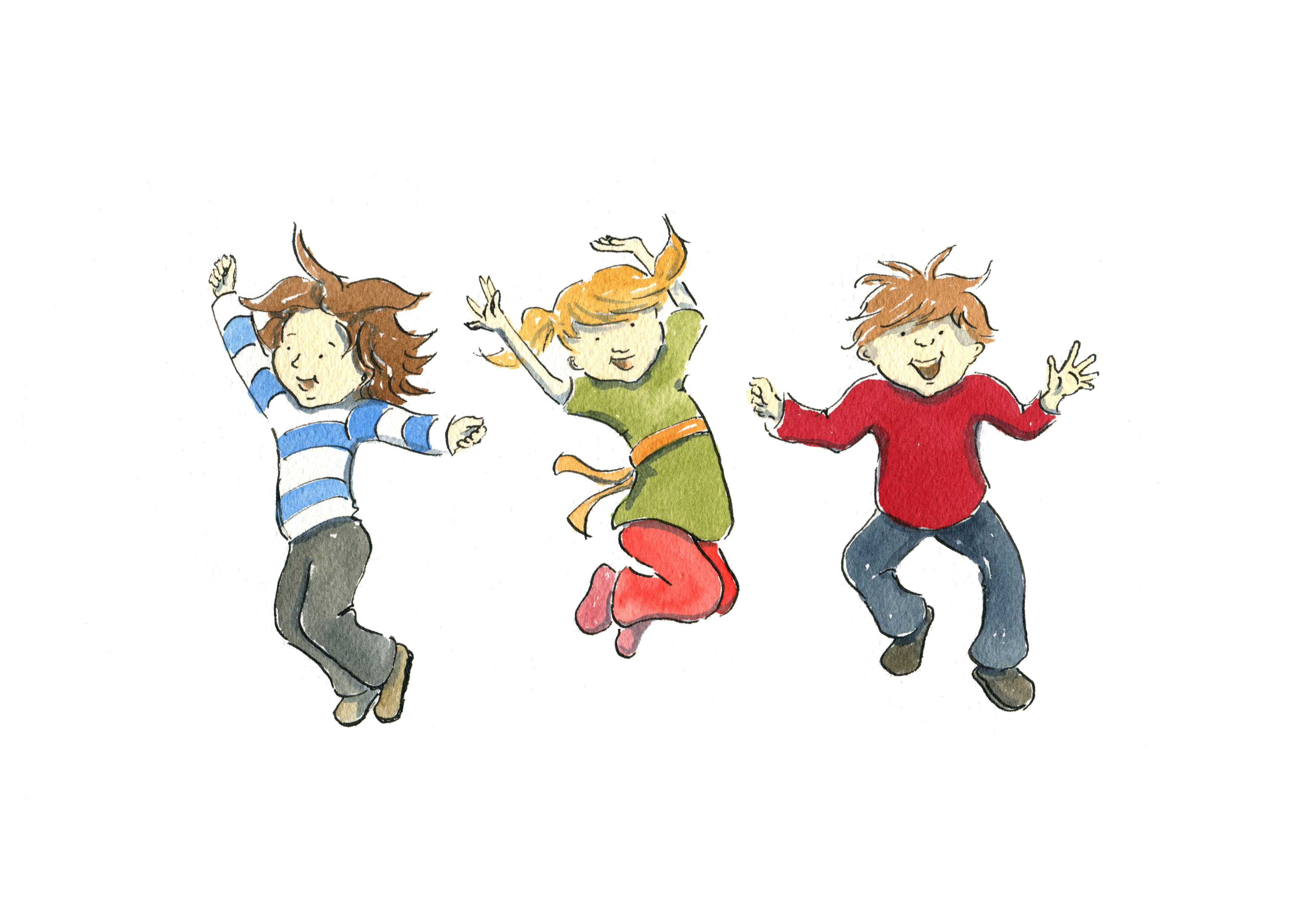 Kids jumping for joy clipart.
