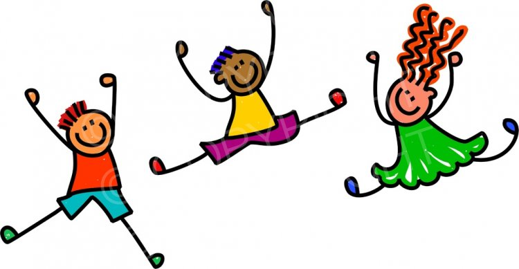 Cartoon Happy Jumping Kids Toddler Art Prawny Clip Art.