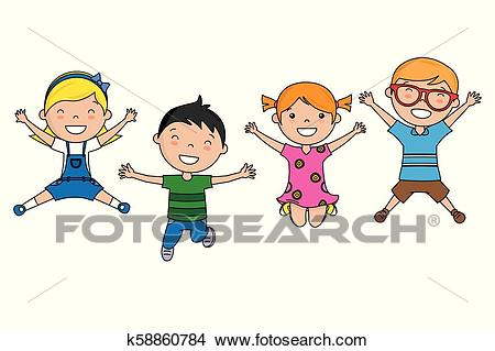 Group of children jumping Clipart.
