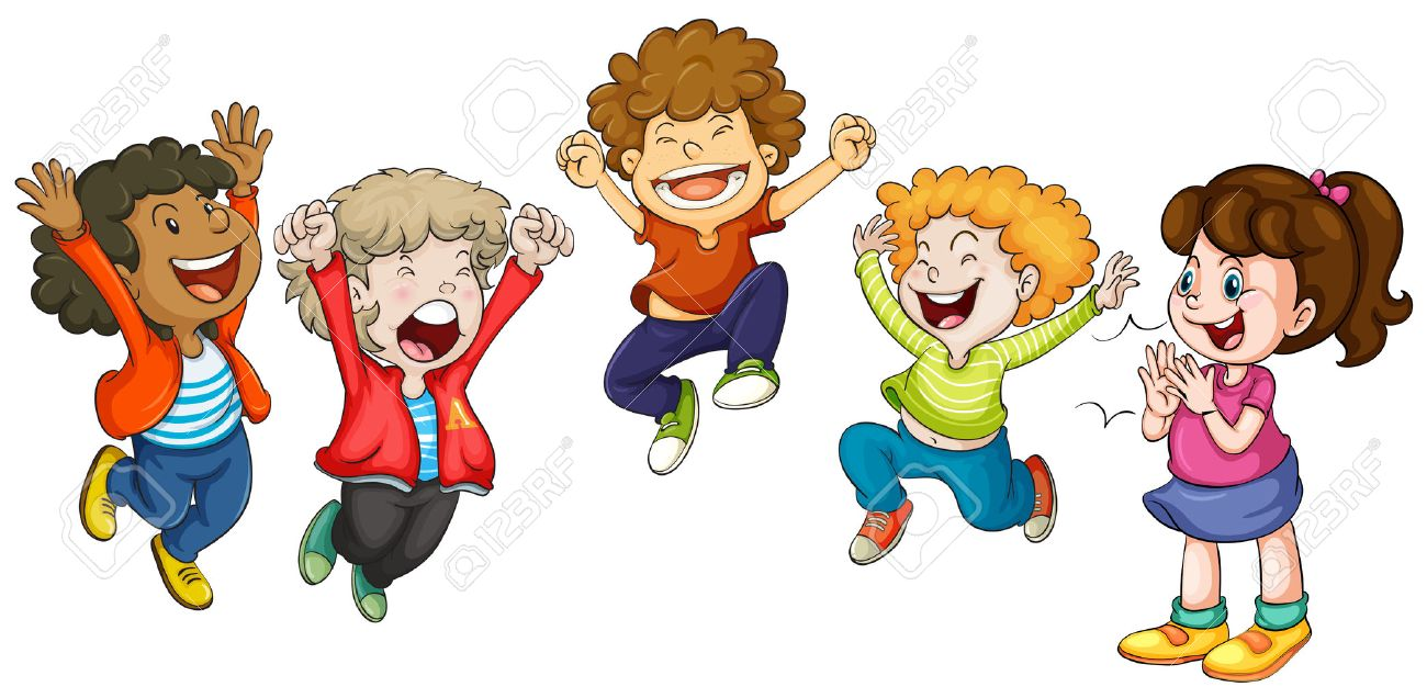 Illustration of children jumping.