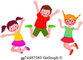 Children Jumping Clip Art.
