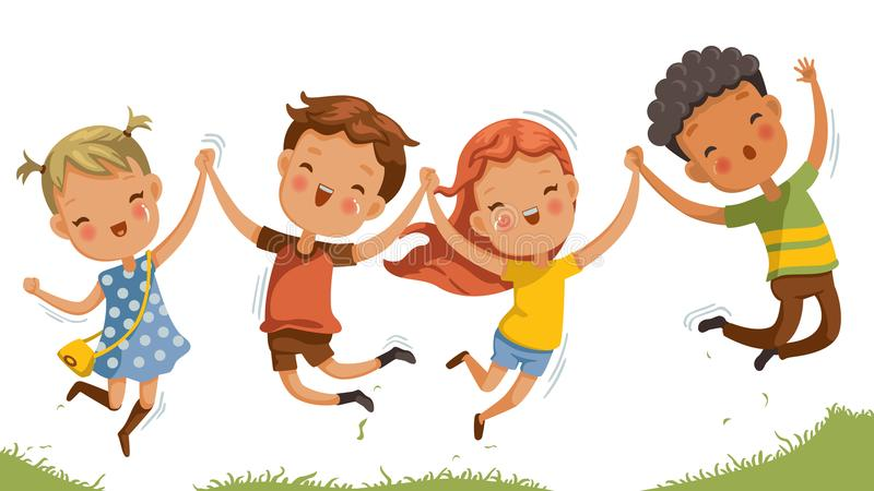 Children Jumping Stock Illustrations.