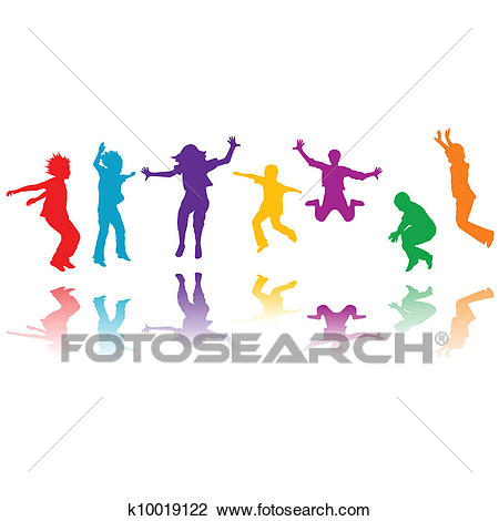 Group of hand drawn children silhouettes jumping Clipart.