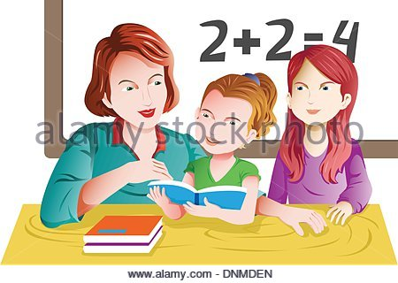 Children learning in the classroom illustration Stock Vector Art.