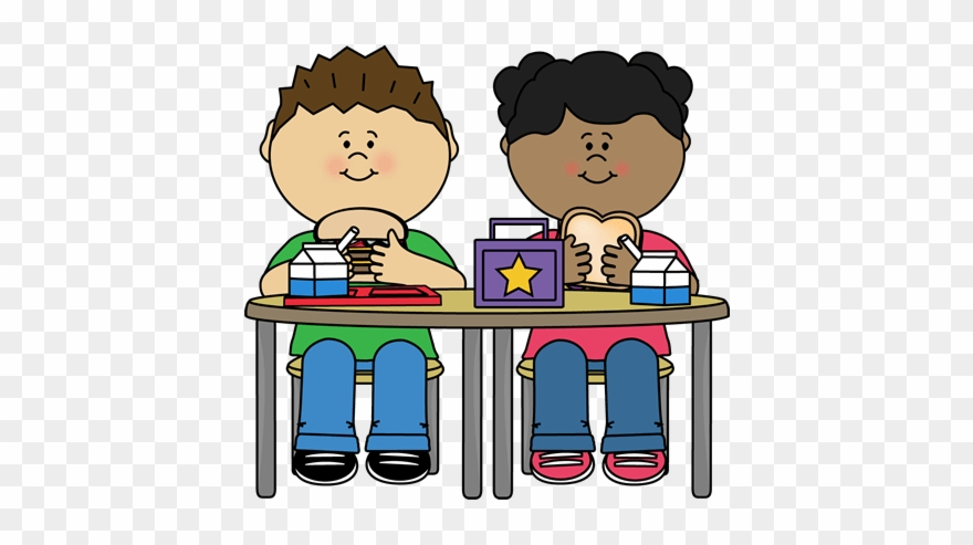 Kids Eating Lunch Clipart.