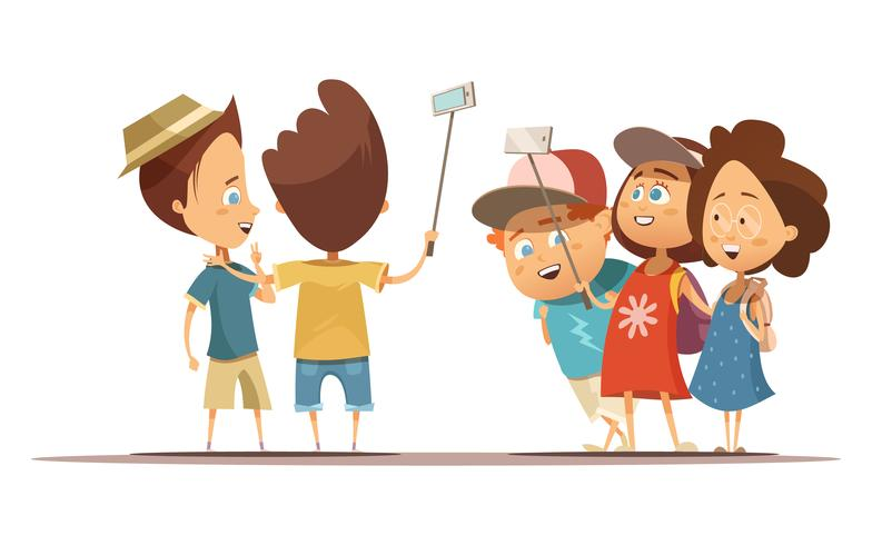 Children Making Selfie Cartoon Style Illustration.