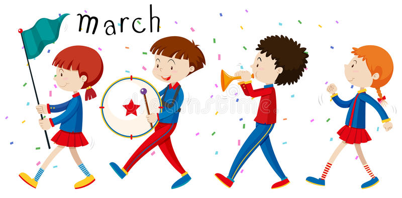 Marching Kids Stock Illustrations.