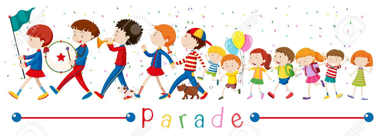 Children and the band in the parade illustration.