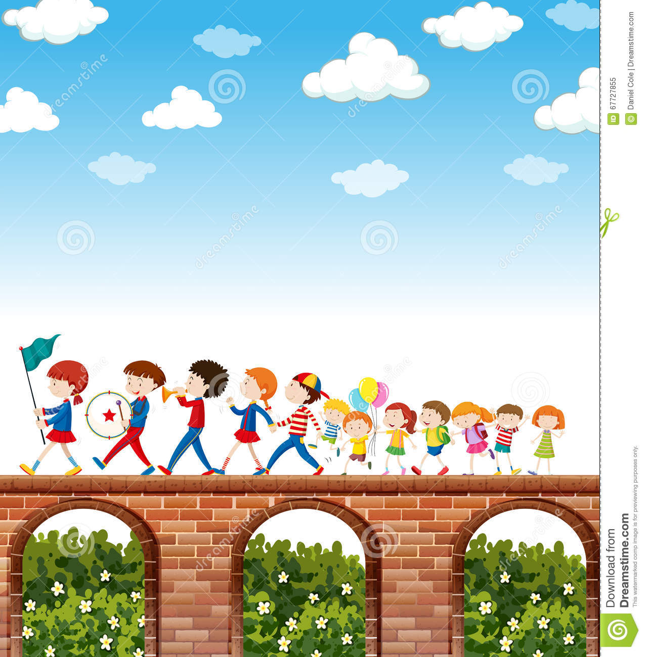 Children Marching On The Bridge Stock Vector.