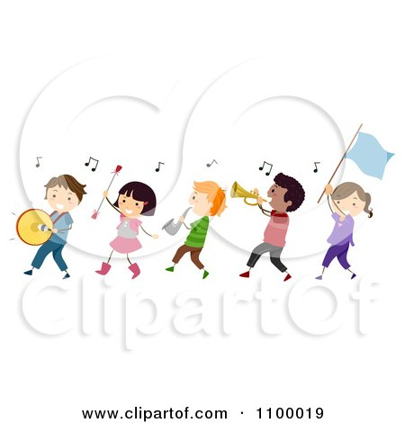 Clipart Line Of Diverse Marching Band Children.