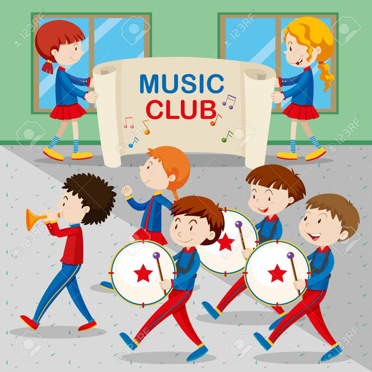 Children in the band marching illustration.