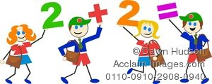 Clipart Illustration of A Group of School Kids Doing Arithmatic or.