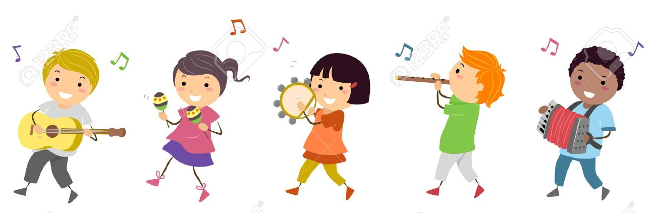 Illustration Featuring Kids In A Music Parade Stock Photo, Picture.