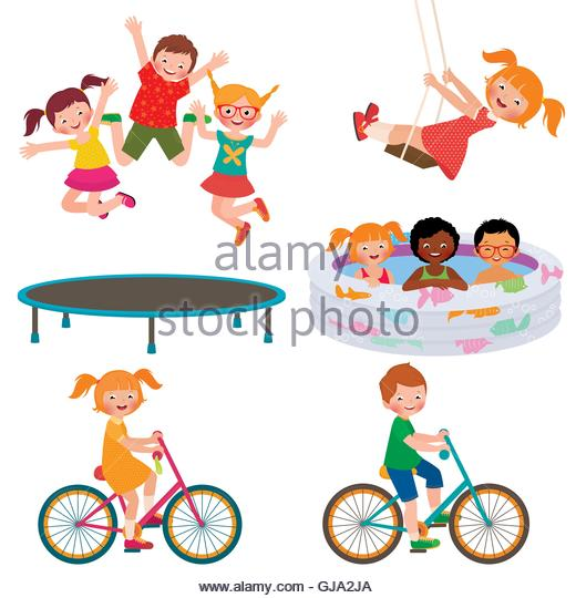 Children And Trampoline Group Stock Photos & Children And.