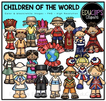 Children Of The World Clip Art {Educlips Clipart}.