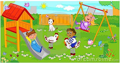 Children In Playground Clipart.
