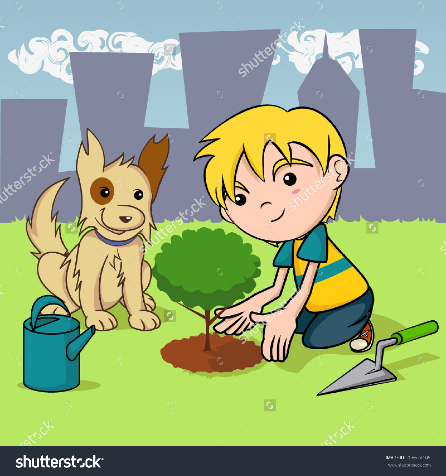 Child Planting Tree Dog Kid Environmental Stock Vector 208624105.
