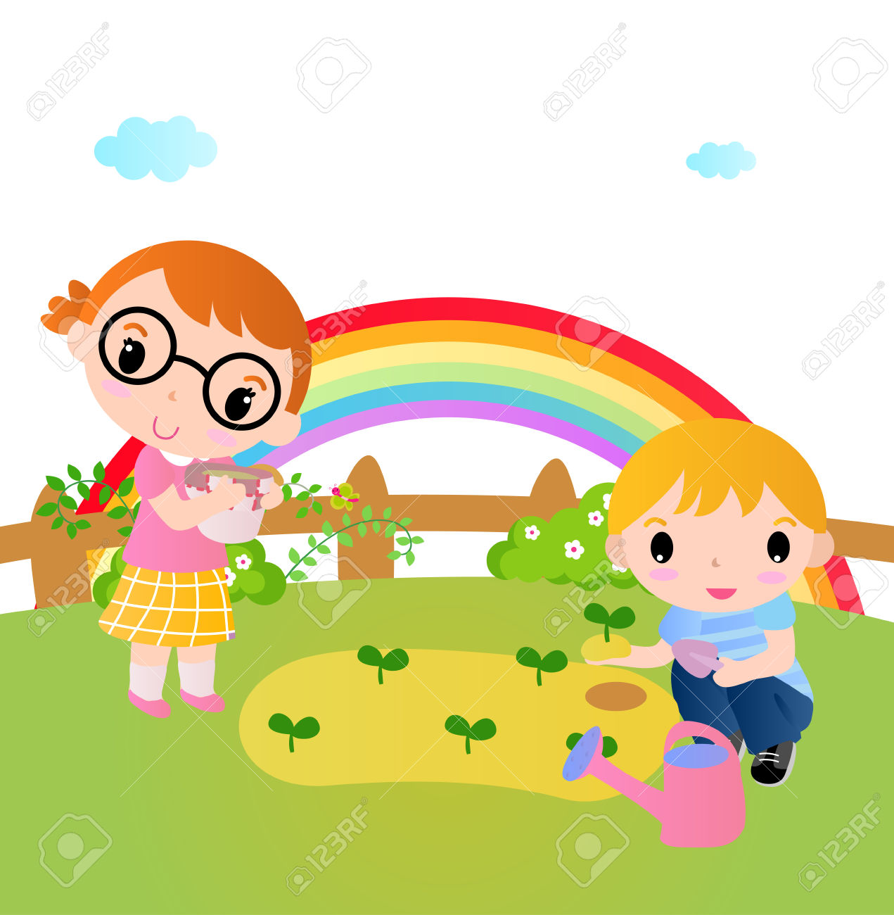 Two Happy Kids Planting Plants In The Garden Royalty Free Cliparts.