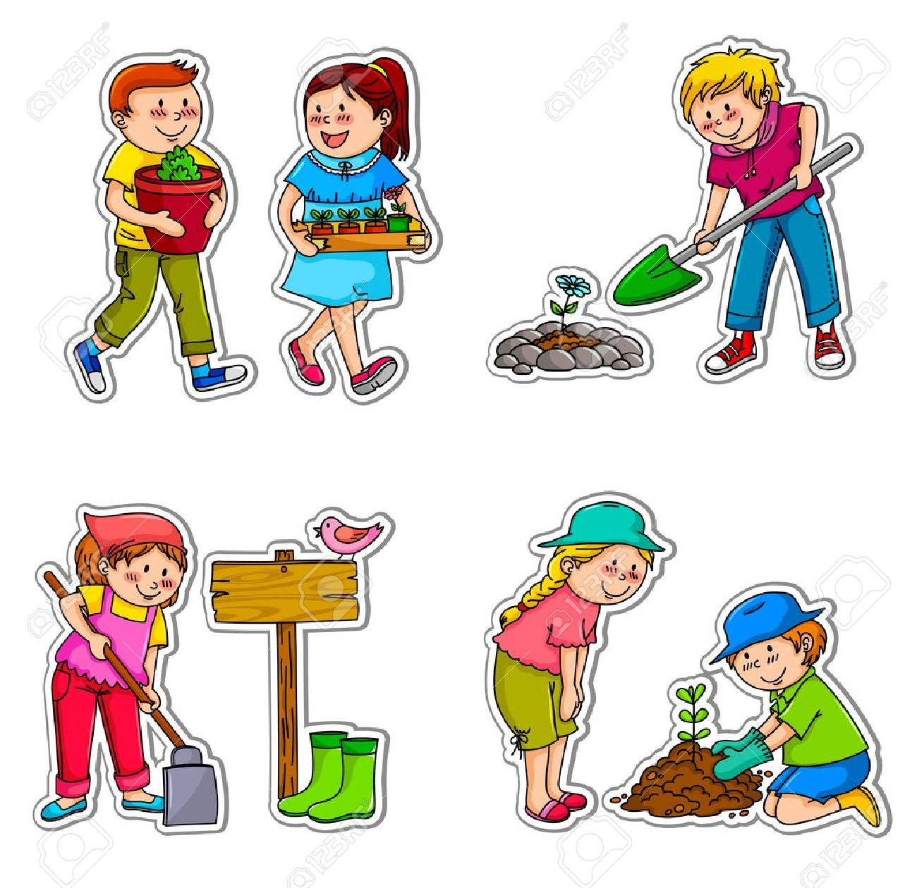 Kids Planting Things And Working In The Garden Royalty Free.