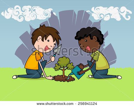 Kids Planting Tree Stock Images, Royalty.